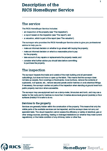 RICS description of HomeBuyers service